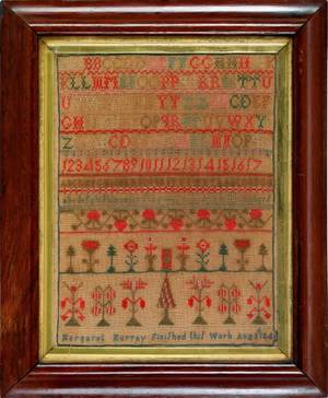 English silk on linen sampler dated 1846 wrought by Margaret Murray