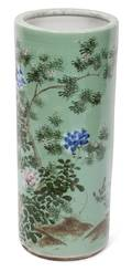 A Chinese Famille Rose and Celadon Porcelain Umbrella Stand