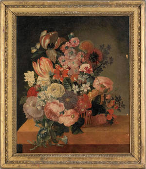 Continental oil on canvas floral still life early 19th c