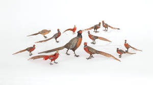 Twelve Austrian cold painted bronze pheasant figures