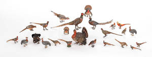 Approximately twentyfour Austrian cold painted bronze game birds