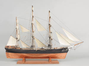 American carved and rigged ship model early 20th c