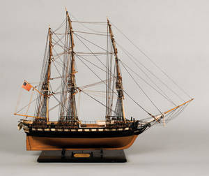 American carved and rigged ship model ca 1900