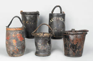 Five leather fire buckets early 19th c