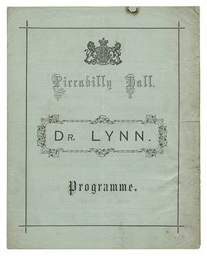 Lynn Dr Hugh Simmons Piccadilly Hall Program of
