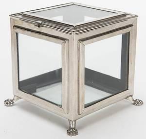 Crystal Casket German  ca 1910 Nickelplated box