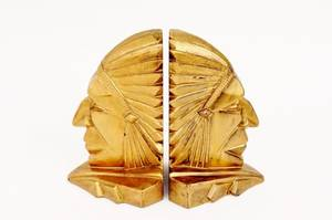 Pair of Art Deco Indian Chief Bookends