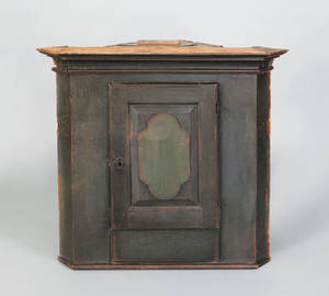 Rare Pennsylvania painted poplar hanging corner cupboard ca 1750