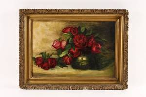 20th C Still Life with Roses Oil Painting
