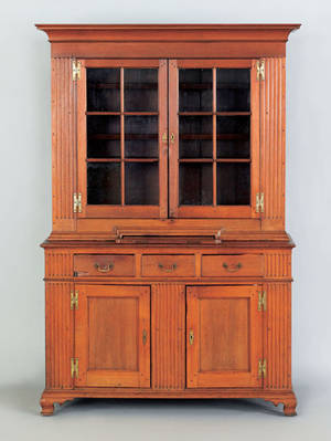 Exceptional Pennsylvania walnut two part Dutch cupboard ca 1780