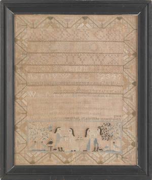 New Hampshire silk on linen needlework sampler dated