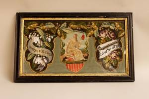 Framed Late 19th C American Needlwork
