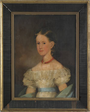 American oil on board portrait of a young girl early 19th c
