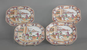 Set of four Chinese export porcelain rose mandarin platters 19th c
