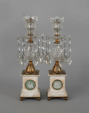 Pair of English crystal brass and marble girandoles 19th c