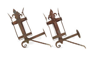 Pair of wrought iron wall mounted torchieres
