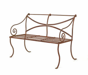 Pair of iron garden benches