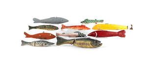 Ten carved fish decoys