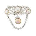 Natural pearl diamond  platinum edwardian brooch