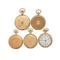 Five american or swiss yellow gold pocket watches