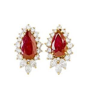 Ruby  diamond yellow gold earrings