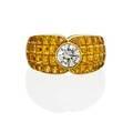 Diamond  invisibly set yellow sapphire ring