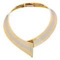 Bicolor gold  diamond hinged collar