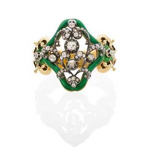Antique french diamond  enameled yellow gold bracelet