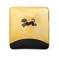 Dog motif 18k gold  leather cigarette case