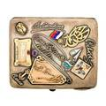 Russian silver gold gem souvenir cigarette case