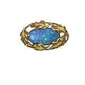 Walton  co black opal  gold artisanal brooch