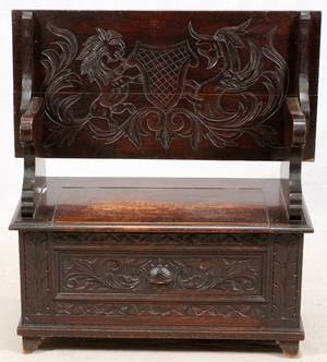 CARVED OAK MONKS BENCH 19TH C