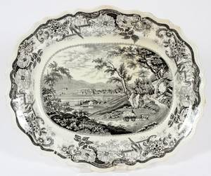BLACK TRANSFERDECORATED STAFFORDSHIRE PLATTER