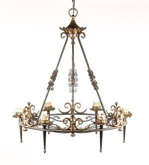French Bronze  Iron 6 Light Chandelier