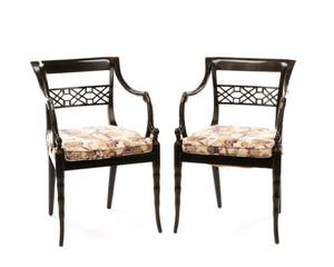 Pair of Regency Style Open Armchairs
