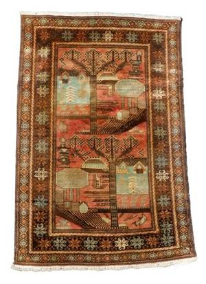 Hand Woven Persian Balouchi Area Rug 3 x 5