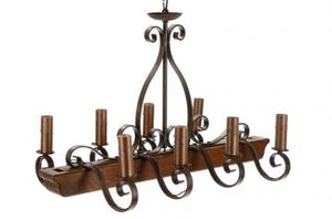 French Provincial Wood and Iron 8Light Chandelier