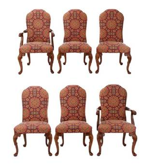 Set of 6 Hickory Upholstered Dining Chairs