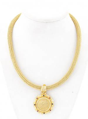 18k Gold Diamond Ruby  Sapphire Rope Necklace