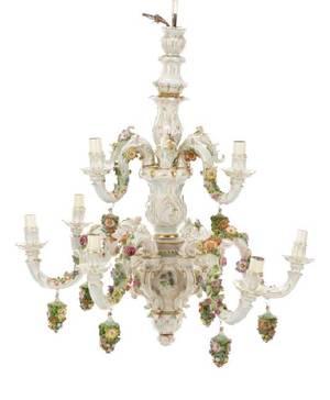 Dresden Style Porcelain Chandelier in Thieme Taste