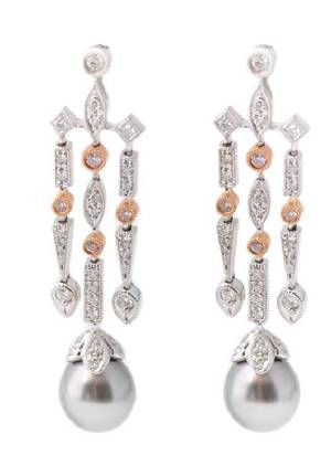 Pair 14k TwoTone Gold Diamond  Pearl Earrings