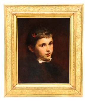 American School Portrait of a Young Girl Oil