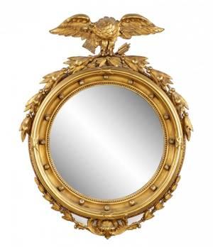 Federal Style Giltwood Eagle BullsEye Mirror