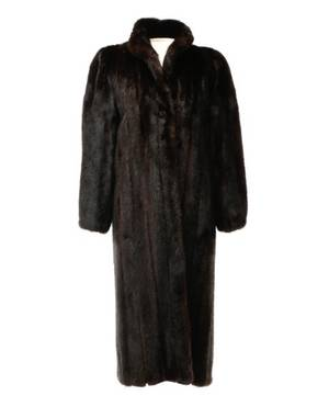 Ladies Dark Brown Full Length Mink Coat