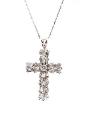 Ladies 14k White Gold  Diamond Cross Necklace