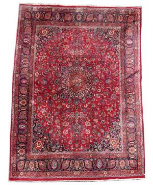 Hand Woven Persian Mashad Rug 12 11 x 9 3