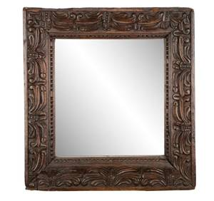 Substantial Carved Oak Wall Mirror 18th C
