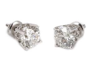 Ladies 14k White Gold  Diamond Stud Earrings