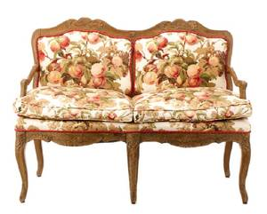 French Provincial Carved Upholstered Walnut Settee
