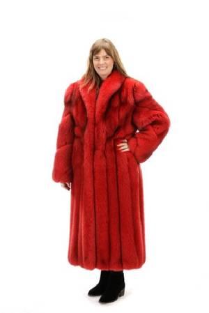 Neiman Marcus Long Red Mink Fur Coat